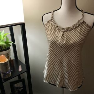 Banana Republic Tan x White Striped Tank Top
